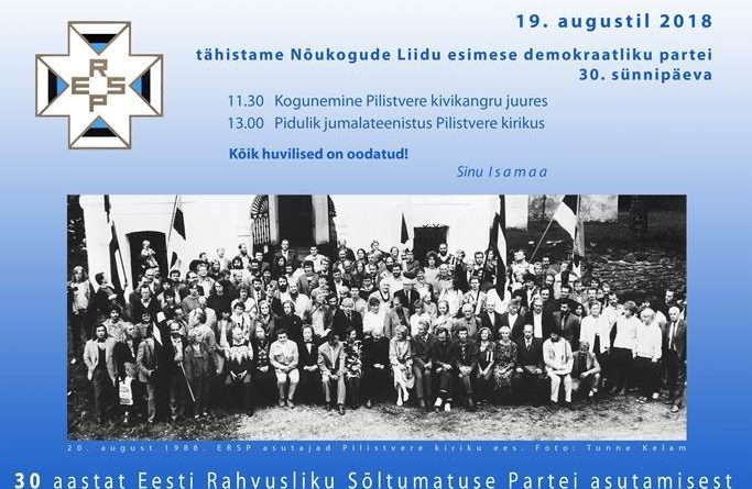 Isamaa tähistab Pilistveres esimese demokraatliku erakonna ERSP 30. sünnipäeva